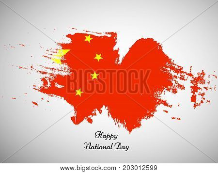 illustration of China flag background with Happy National Day text on the occasion of China National Day