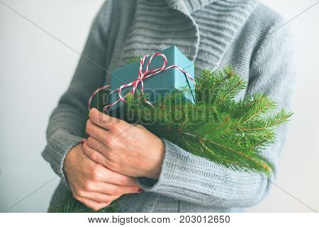 Christmas Vintage Gift And Green Branches Fir