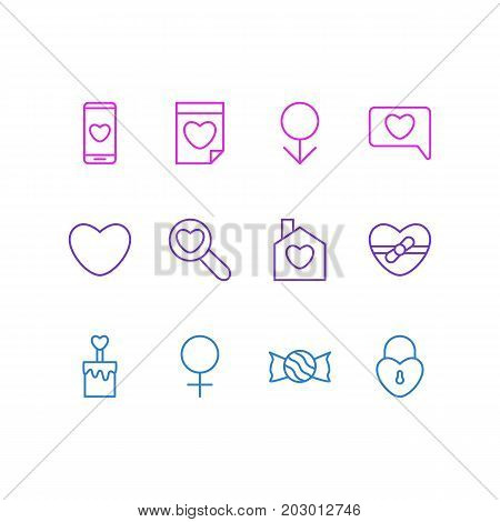 Editable Pack Of Woman, Valentine, Soul And Other Elements.  Vector Illustration Of 12 Amour Icons.