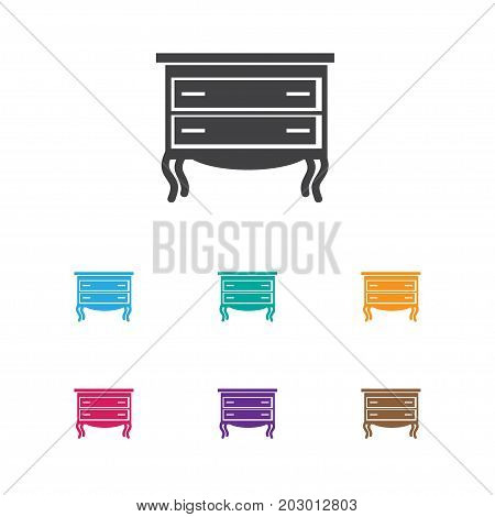 Vector Illustration Of Interior Symbol On Drawer Chest Icon