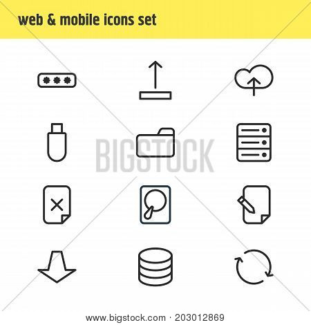 Editable Pack Of Hdd, Datacenter, Parole And Other Elements.  Vector Illustration Of 12 Storage Icons.