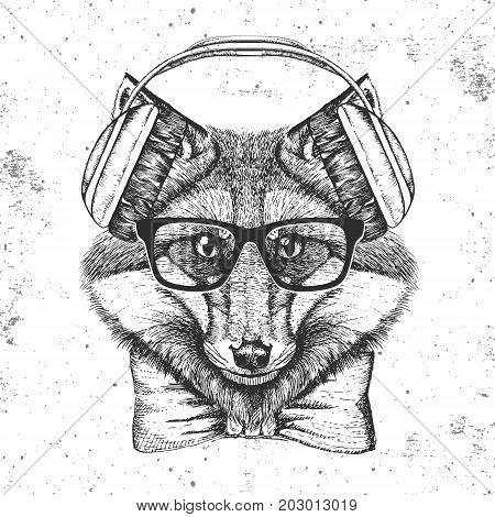 Hipster animal fox. Hand drawing Muzzle of animal  fox