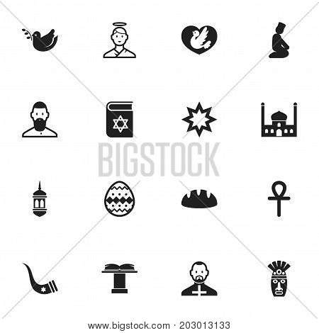 Set Of 16 Editable Dyne Icons. Includes Symbols Such As Chapel, Tusk, Dove And More
