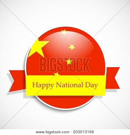 illustration of button in China flag background with Happy National Day text on the occasion of China National Day