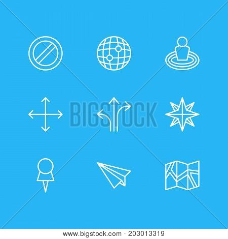 Editable Pack Of Orientation, Marker, World And Other Elements.  Vector Illustration Of 9 Navigation Icons.