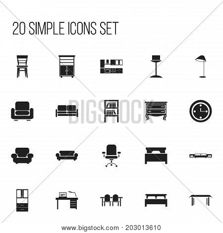 Set Of 20 Editable Furniture Icons. Includes Symbols Such As Trestle, Restaurant Table, Illuminant And More