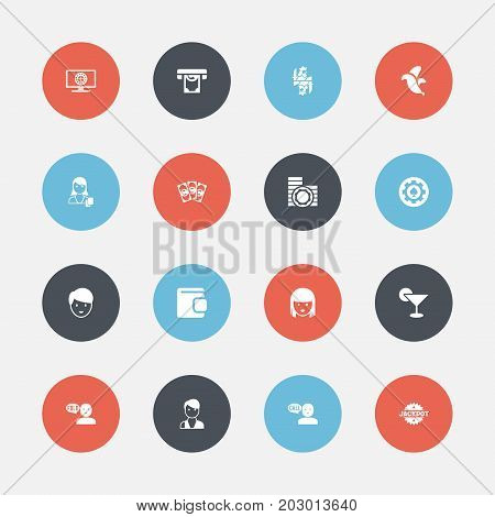 Set Of 16 Editable Excitement Icons. Includes Symbols Such As Talking, Money, Roulette On Monitor And More