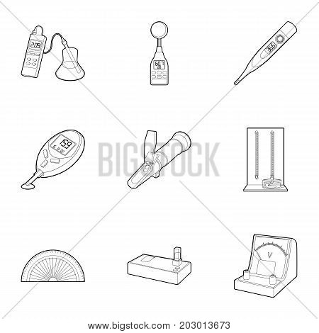 Precision instrument icons set. Outline set of 9 precision instrument vector icons for web isolated on white background
