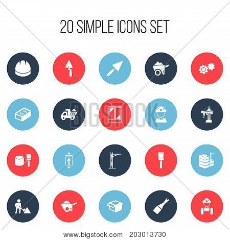 Set Of 20 Editable Construction Icons. Includes Symbols Such As Chisel, Trowel, Mop And More