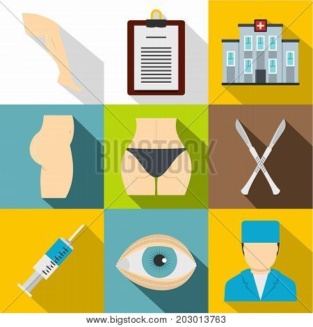 Cosmetic surgery icon set. Flat style set of 9 cosmetic surgery vector icons for web design