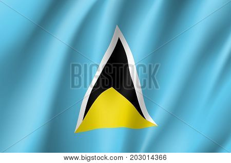 Flag Saint Lucia realistic icon. State insignia of the nation in realistic style on the entire page. Waving state flag. National symbol in the form of a vector illustration