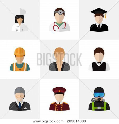 Set Of 9 Editable Occupation Flat Icons. Includes Symbols Such As Graduate, Waiter, Swimmer And More