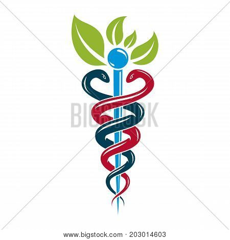 Aesculapius vector abstract illustration created using snakes and green leaves Caduceus symbol. Healthy lifestyle is strong heart.