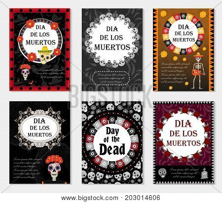 Day of the dead set flyer, poster, invitation with roses, skeleton, and sugar skulls. Dia de Muertos cards templates collection for your design. Holiday in Mexico concept. Vector illustration