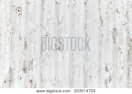White Grungy Corrugated Metal Fence Texture