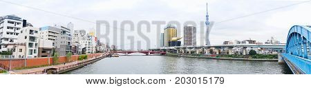 Business and culture concept - panoramic modern city skyline bird eye aerial view with tokyo skytree under beautiful cloudy sky in Tokyo Japan
