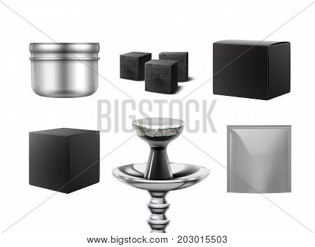 Vector empty different shisha packs for branding side view isolated on white background