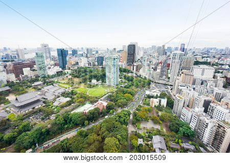 Business and culture concept - panoramic modern city skyline bird eye aerial view with zojo-ji temple shrine from tokyo tower under dramatic sunrise and morning blue sky in Tokyo Japan