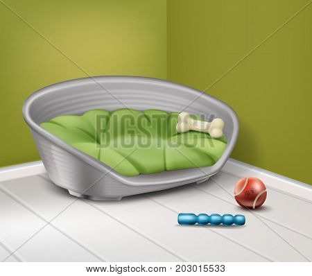 Vector illustration of place for dog with different toys in home isolated on background