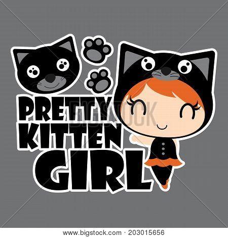 Pretty black cat girl with cat head vector cartoon illustration for halloween card design, wallpaper and kid t-shirt design