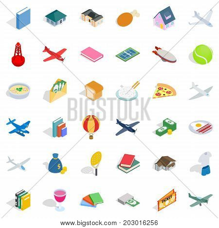 Multiplicity icons set. Isometric style of 36 multiplicity vector icons for web isolated on white background