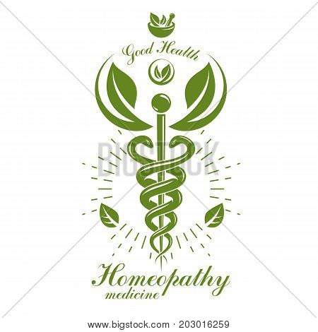 Aesculapius vector abstract logo Caduceus symbol composed with mortar and pestle for use in medical treatment.