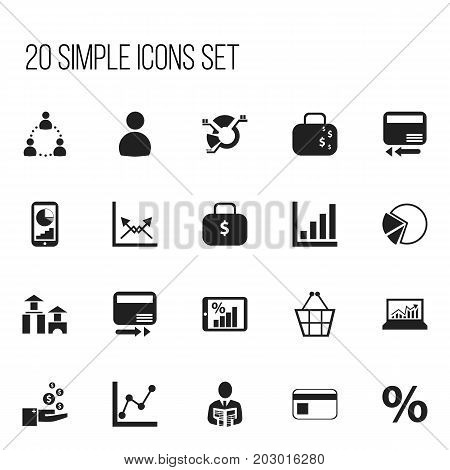 Set Of 20 Editable Logical Icons. Includes Symbols Such As Monitoring, Trading Purse, Credit Card And More