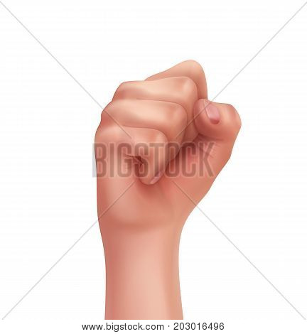 Human hand with fingers folded into first isolated on white background