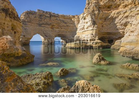 Long exposure at Marinha Beach in Lagoa, Algarve Portugal