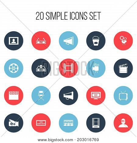 Set Of 20 Editable Filming Icons. Includes Symbols Such As Theater Agency, Portable Camera, Movie Strip And More