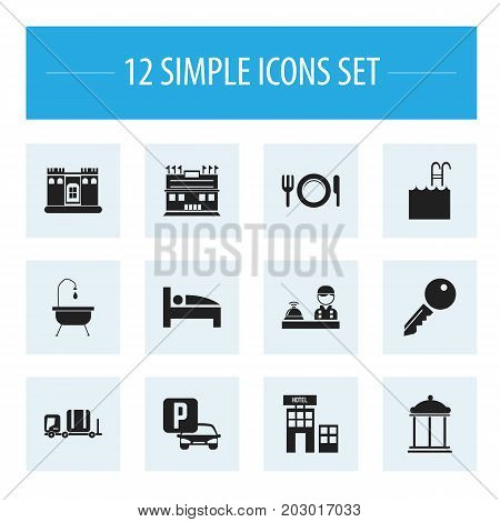 Set Of 12 Editable Travel Icons. Includes Symbols Such As Shower, Residence, Pool And More