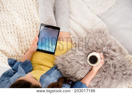 Girl Using Tablet For Blogging