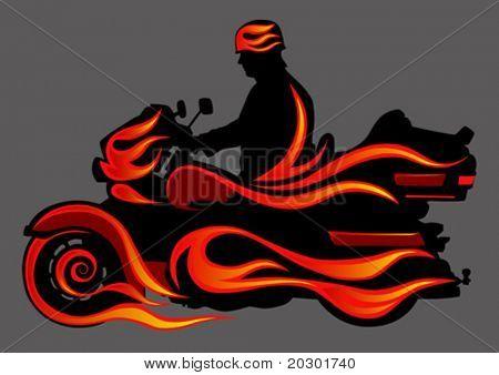 Motocicleta gráfica vectorial en fuego