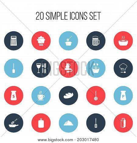 Set Of 20 Editable Restaurant Icons. Includes Symbols Such As Tableware, Prepare Meal, Cutting Surface And More