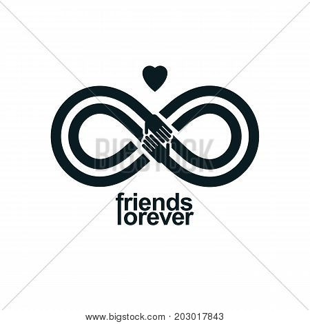 Friends Forever everlasting friendship conceptual vector symbol isolated on white background.