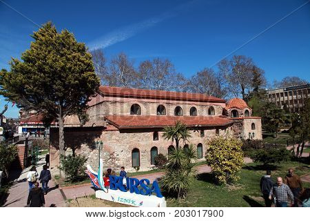 Iznik, Turkey - March 03, 2017; The Hagia Sophia at Nicaea is a Byzantine era church in Nicaea (iznik) in Turkey.