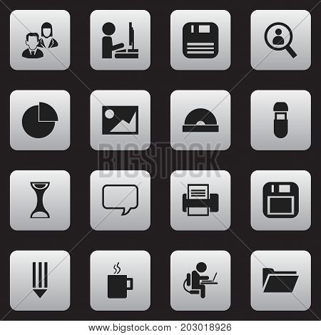 Set Of 16 Editable Office Icons. Includes Symbols Such As Diskette, Dossier, Work At The Computer And More