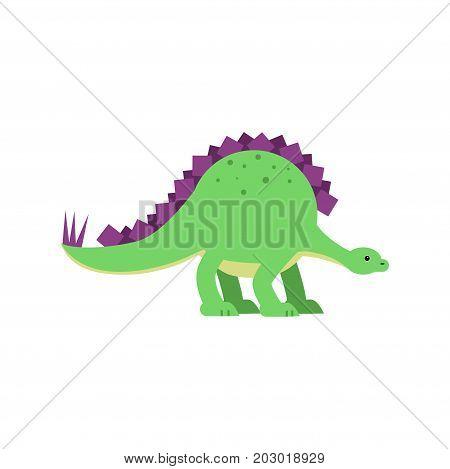 Cute cartoon green stegosaurus dinosaur, prehistoric and jurassic monster vector Illustration on a white background