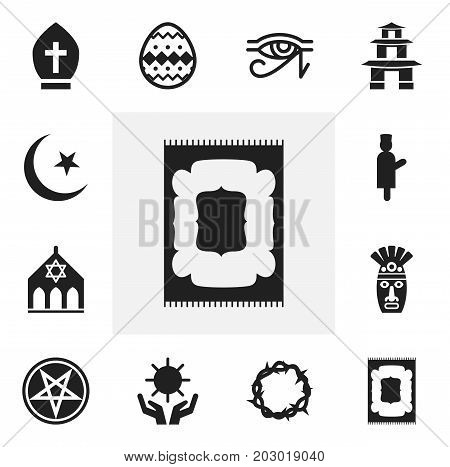 Set Of 12 Editable Religion Icons. Includes Symbols Such As Begging, Baphomet Symbol, Solar And More
