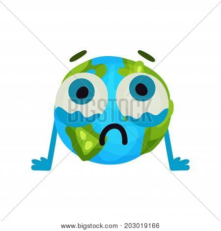 Cute cartoon unhappy Earth planet emoji, humanized globe character with emotions colorful vector Illustration on a white background