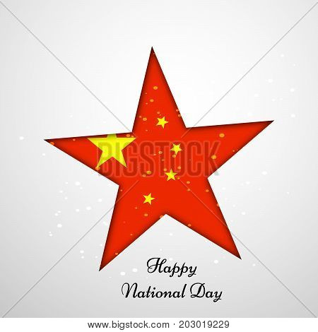 illustration of star in China flag background with Happy National Day text on the occasion of China National Day