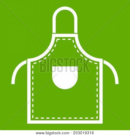 Welding apron icon white isolated on green background. Vector illustration