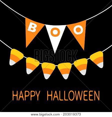 Happy Halloween card. Candy corn. Bunting flags pack Boo letters. Flag garland. Party decoration element. Hanging text on rope thread. Black white triangle set. Flat design. Black background. Vector