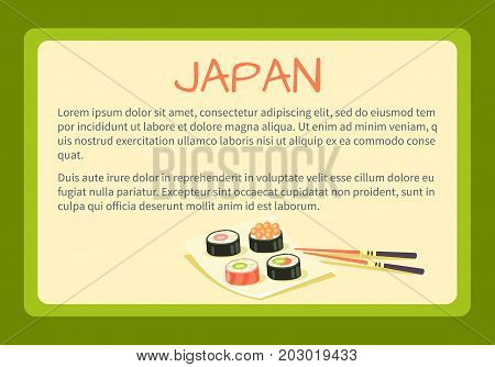 Japan framed touristic banner with national symbol and sample text. Sushi rolls on square plate with bamboo chopsticks flat vector illustration. Vacation in asian country concept for travel company ad