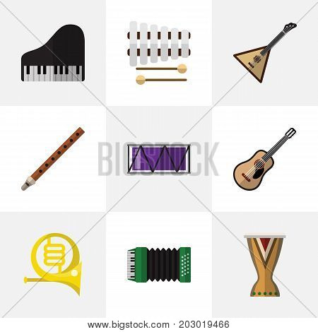 Set Of 9 Editable Music Flat Icons. Includes Symbols Such As Portal, Barrel, Sticks And More