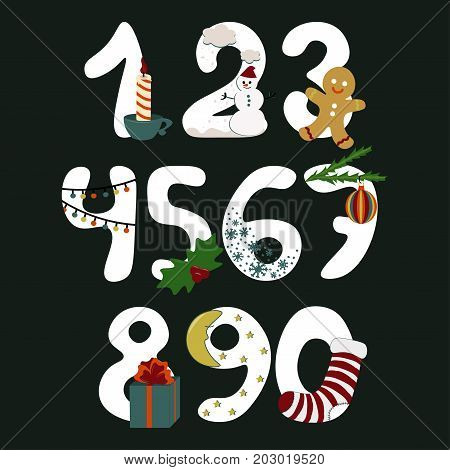 Numbers with symbols of the Christmas New Year vector cartoon illustration on black