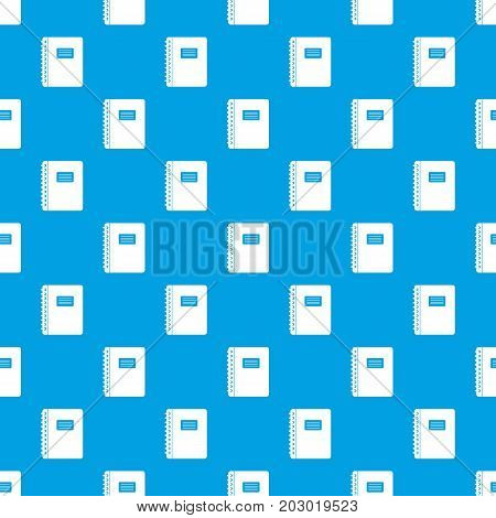 Spiral notepad pattern repeat seamless in blue color for any design. Vector geometric illustration