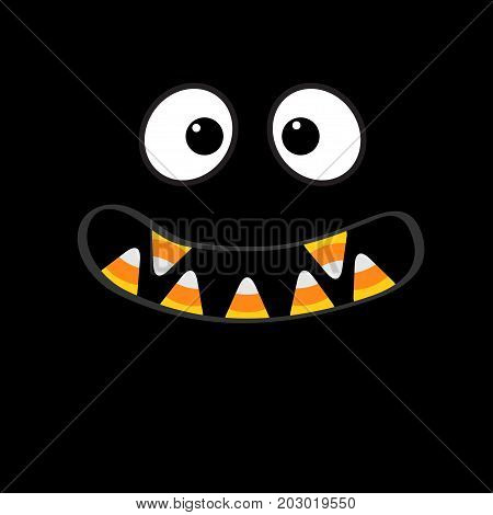 Scary monster face emotions. Vampire tooth fang. Big eyes mouth with candy corn Happy Halloween. Baby Greeting card. Flat design style . Black background. Vector illustration