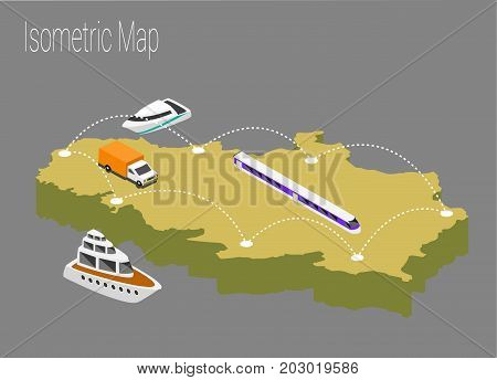Map serbia isometric concept. 3d flat illustration of Map serbia.