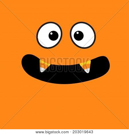 Scary face emotions. Big eyes mouth with candy corn Vampire tooth fang. Happy Halloween. Baby Greeting card. Flat design style . Orange background. Vector illustration